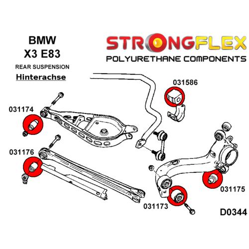 BMW Z4 e85,e86,e89 2 PU Buchsen für Schräglenker VA  StrongFlex 80ShA rot
